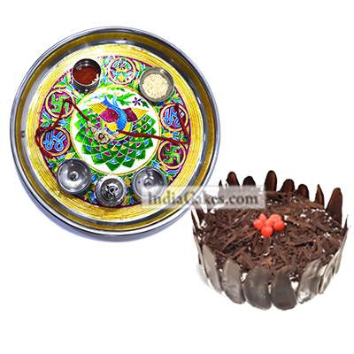 Golden Thali With Green Design And Half Kg Eggless Black Forest Cake