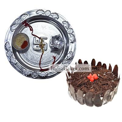 Silver Thali And Half Kg Eggless Black Forest Cake
