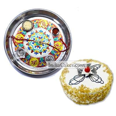 Silver Thali With Design And Half Kg Eggless Butterscotch Cake