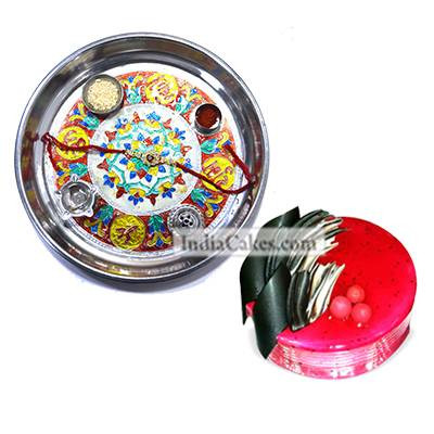 Silver Thali With Design And Half Kg Eggless Strawberry Cake