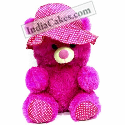 30 cm Hot Pink Color Teddy Bear With Hat