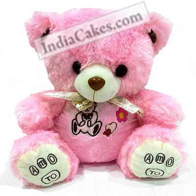 30 cm Pink Color Teddy Bear With Ribbon