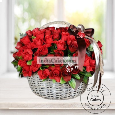 White Basket Of 100 Red Roses