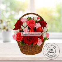 10 Pink, 5 Red Roses and 10 white carnation Basket