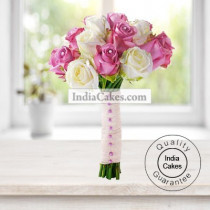12 Pink And White Roses Bunch