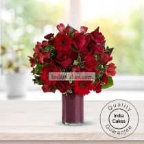 12 Red Gerberas & Red Rose Bunch Arrangement