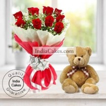 12 Red Roses Bunch And Cute 6 Inch Teddy