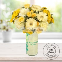 12 YELLOW GERBERAS WITH YELLOW CARNATIONS BUNCH