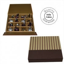16 Pcs Golden And Brown Stips Chocolate Box