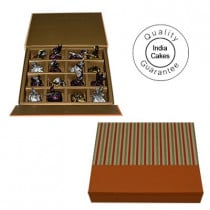 16 Pcs Golden And Orange Stips Chocolate Box