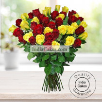18 RED AND YELLOW ROSES BUNCH