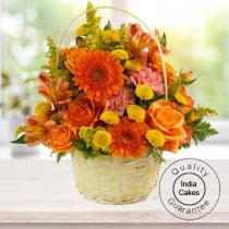 20 Seosonal Mix Flowers Arrangement in Basket