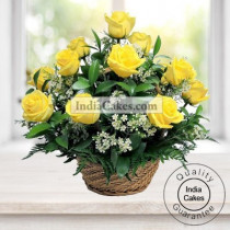 20 Yellow Roses Basket