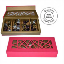 30 Pcs Red Geometric Designer Chocolate Box With Velvet Finish