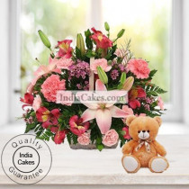 4 Lilies and 15 Carnations Arranged in Basket With a Cute Teddy