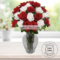 50 Red and White Roses With Vase