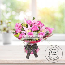 6 Pink Lilies And 12 Pink Roses Arrengement