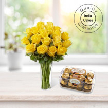 6 YELLOW ROSES BUNCH AND 16 PCS FERRERO ROCHER CHOCOLATES