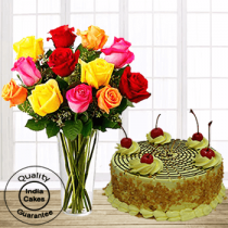 Affable Butterscotch Half Kg Cake with 12 Mix Roses