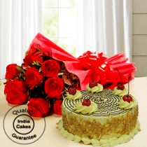 Affable Butterscotch Half Kg Cake with 9 Red Roses