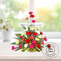 ARRANGEMENT OF COLOURFUL CARNATIONS