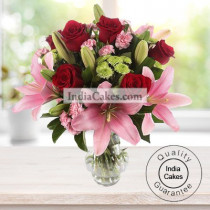 Arrangement of Lillis and Roses
