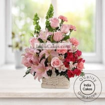 Arrangement of Lilly and Carnations