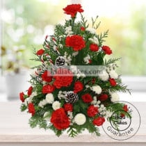 ARRANGEMENT OF RED ROSE,WHITE ROSE AND CARNATIONS