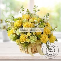 Arrangement of Yellow Roses and Yellow Carnations