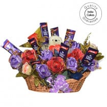 Big Chocolate Basket And Mix Roses With Yellow Teddy - Courieredp
