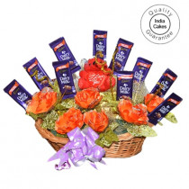 Big Chocolate Basket With Red Roses - Courieredp