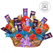 Big Chocolate Basket And Red Roses With Red Teddy - Courieredp