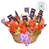 Big Chocolate Basket And Red Roses With Yellow Teddy - Courieredp
