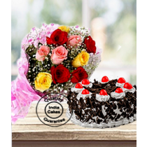 Half Kg Black Forest Cake with 12 Mix Roses