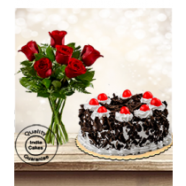 Eggless Black Forest Cake Half Kg with 6 Red Roses Bunch