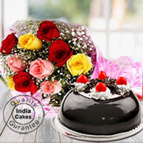 Half Kg Black Forest Gel Dome Cake with 9 Mix Roses
