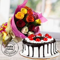 Half Kg Black Forest Gel Cake with 12 Mix Roses