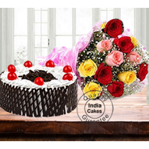 Half Kg Black Forest Side Net Cake with 12 Mix Roses