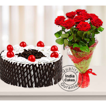 Half Kg Black Forest Side Net Cake with 9 Red Roses