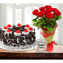 Half Kg Black Forest Cake with 9 Red Roses
