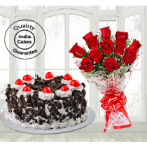 Half Kg Black Forest Cake with 12 Red Roses