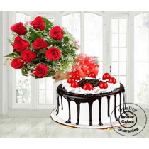 Half Kg Black Forest Gel Cake with 9 Red Roses