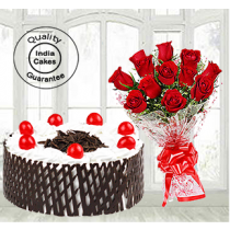Half Kg Black Forest Side Net Cake with 12 Red Roses