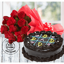 Cake For Father Half Kg with 12 Red Roses
