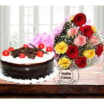 Half Kg Choco Black Forest Cake with 12 Mix Roses
