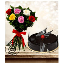 Eggless Chocolate Truffle Cake Half Kg with 6 Mix Roses Bunch