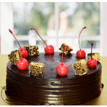 Eggless Chocolate Cherry Top Truffle cake