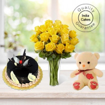 Chocolate Truffle Cake 1 Kg with 6 Yellow Roses Bunch and a Teddy Bear