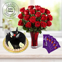 Eggless Chocolate Truffle Cake 1 Kg with 6 Red Roses Bunch and 5 Chocolates