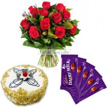Half Kg Butter Scotch Cake-6 Red Roses Bunch-5 Chocolates